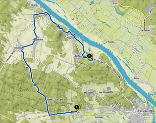 Bild: Karte von der Wanderung Klötziestieg bei Hitzacker am 1. Tag