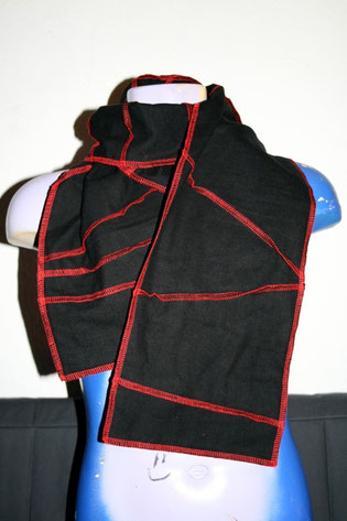 Zebraspider Flanell Schal Overlock rot schwarz