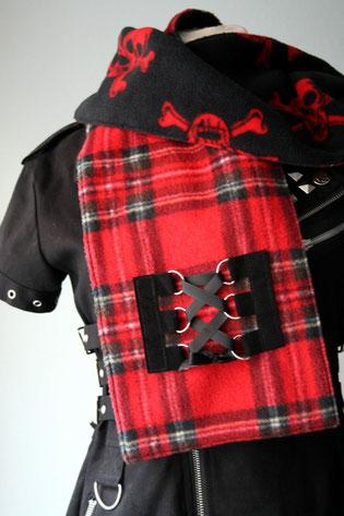 Zebraspider Fleece Schal rot schwarz kariert punk gothic