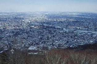 藻岩山山頂から見た札幌市
