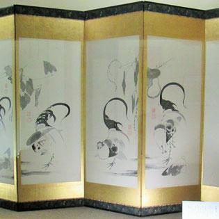 伊藤若冲、鶏の図屏風