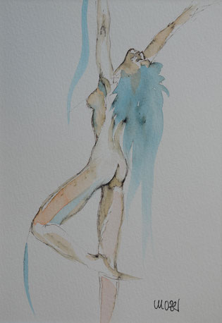 akt, watercolor, gunnar mozer