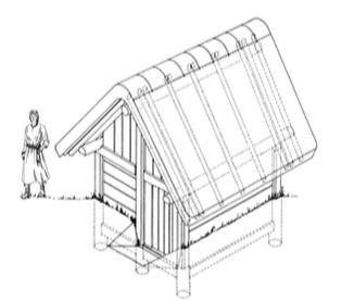 Grubenhaus. Zeichnung S. Köhler, L. Berger; Archäologie Baselland