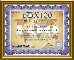 The eDX 100 is available as an award from eQSL.cc to radio amateurs worldwide who have 100 dx entitles confirmed through eQSLs. This award is similar to the ARRL DXCC.