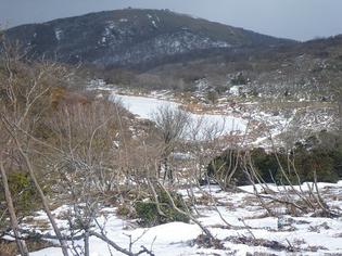 全面凍っているが、周囲に殆ど雪のない小女郎ケ池