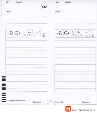 Stempelkarte Typ VN für rechnende Seiko QR395 Stempeluhr