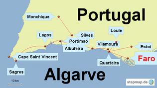 Bild: Karte von der Algarve in Portugal