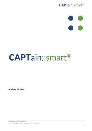 Titelblatt Auswertung CAPTain::smart® talents; Der CAPTain Test® für den Spezial-Einsatz; Auswertung spezifischer Fragestellungen; Vorbereitung, Durchführung, Transfersicherung von Coachings, Trainings; Führung, Konflikt, Kommunikation, Selbstorganisation