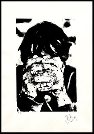 """Sérigraphie """"Les mains de Claude"""" d'après une photo de l'artiste CarCam - Epreuve d'artiste - Encre noire sur papier 50x70 cm"""