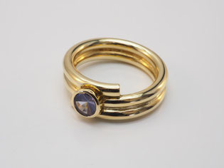 Ring, Saphir, Roulettschliff, Gold