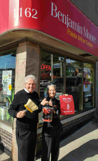 MPP Mike Colle and Upper Village Paint manager Judith Haynes
