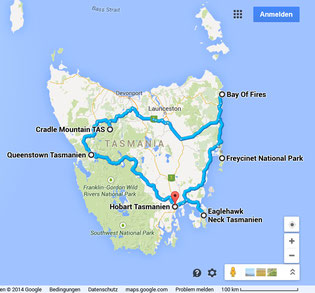 Travel map Tasmania
