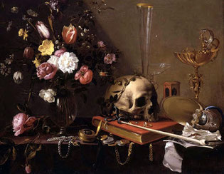 Still Life with Bouquet and Skull– Adriaen van Utrecht