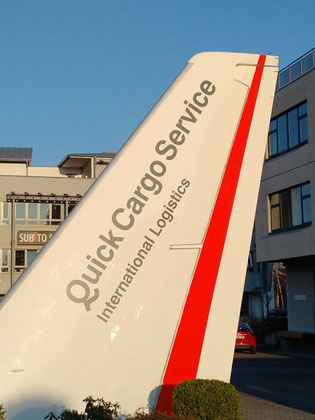 Rudder mounted in front of QCS's headquarters at Moerfelden-Walldorf near Frankfurt Airport  -  photo CFG/hs