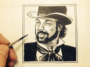Croquis de Ralph Mayer - Xavier Dorison en western