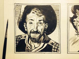 Croquis de Ralph Mayer - Ralph Mayer en western