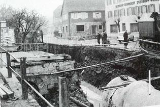 Verlegung der Abwasserrohre, Höhe Mühlenplatz