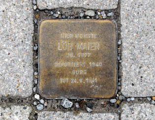 Jüdischer Stolberstein, Löb Maier, vorne an der Adlerstraße