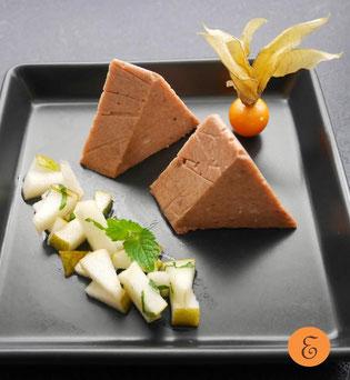 Bananen-Kakao-Grießflammerie / Birnen-Minzesalat