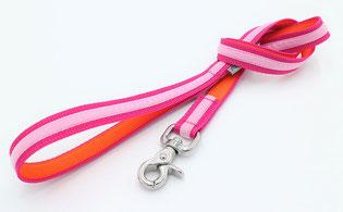 Stadtleine Pink Rosa Orange 1m Länge mit Verschluss Silber