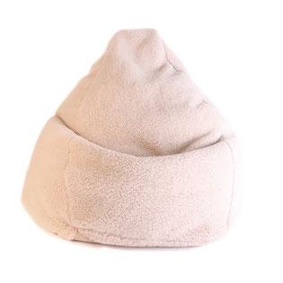 Pouf bean bag en forme de poire en véritable laine de mouton douce et moelleuse marron clair fabriqué en france