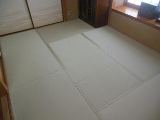樹脂畳おもてセキスイ美草色の名前は「リーフグリーン」織り目:目積(めせき)