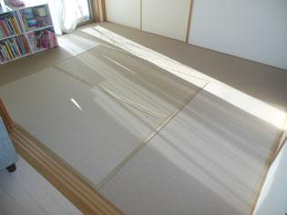ビニール畳セキスイ美草モカベージュ色 風合い豊か目積の編み目畳