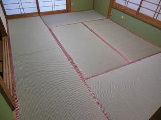 熊本県産の畳おもて 市松模様の「赤」「銀」畳へり