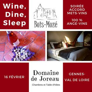 Venez fêter la St. Valentin sur un accord mets et vins 100% angevin grâce à la collaboration du Domaine de Bois-Mozé, vignoble en Anjou, et du Domaine de Joreau, chambres et tables d'hôtes près de Saumur.