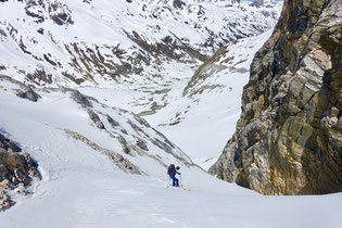 Skitour, Skihochtour, Turtmanntal, Brunegghorn, Turtmannhütte, Brunegg Gletscher, Abfahrt, Couloir