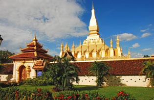 Pha That Lounga, ''El Gran Estupa'', en Vientián, capital de Laos, y símbolo nacional. Foto ©: wikipedia.org
