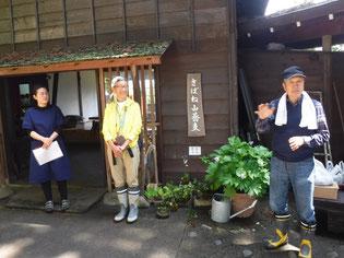 副住職兼そばうちの梅津さんの奥様と白壁さん、八鍬さんから説明!