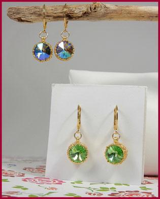 Solitär-Ohrhänger mit grünen und blauen Swarovski-Kristallen
