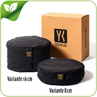 Yoga- und Meditationskissen 8 oder 16 cm aus Baumwolle gefüllt mit Buchweizenspelzen – stabil, pflegeleicht und umweltfreundlich – Startklar für Yoga! YOGAKLAR