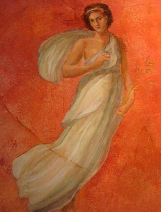 Pompeian Lady on Red by Joanne Marie Wolfe