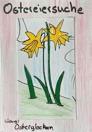 Ein echtes Gewinnerbild: Karla Leser hat das richtige Lösungswort der virtuellen Ostereiersuche gemalt und sich damit den Sieg gesichert.
