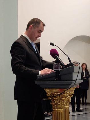Julián Diaz, durante el acto de entrega del Premio. Fotografía de ValladolidCofrade