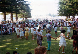 Traditional  dances at the very popular annual Victor Harbour excursion (1983 in photo)