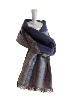 Gewebter Winterschal aus Seide,grau,blau