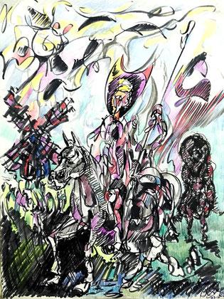 Álvaro Suárez Vértiz, pintura contemporánea, Perú, pintores peruanos, arte, dibujo, Don Quixote, Don Quijote y Sancho en los molinos de viento.