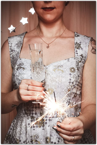 New Year's Eve sparkler champagne glass