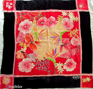 Foulard, écharpe, soie, naturelle, peint main, fait main, rouge, noir,multicolore, fleur, fabriqué en France, Bretagne,