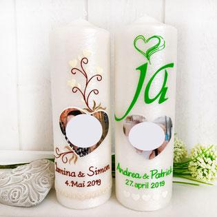 Hochzeitskerze mit Foto, Hochzeitskerze mit Herz in grün, Perlmuttkerze für Hochzeit