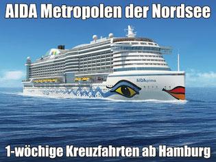 AIDAprima Nordsee ab Hamburg 2016 2017 Kreuzfahrten buchen