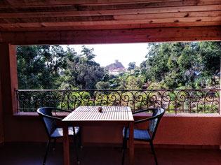 Notre terrasse à l'Hôtel Corsica