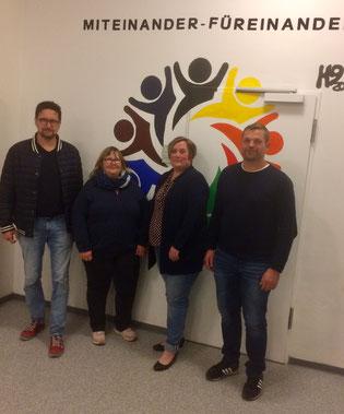 Das Bild zeigt (von links): Hans-Jürgen Pemsel, Birgit Holzapfel, Stefanie Bornmann und den neuen Vorsitzenden Sascha Fuchs