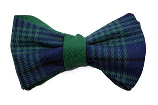 Herren Anzug Fliege zum selbstbinden in blau grün kariert - Schleife