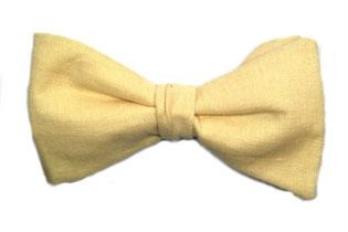 Herren Anzug Fliege gelb aus Leinen zum binden - Leinenfliege