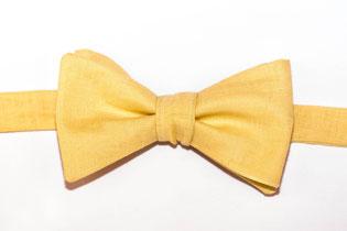 Herren Anzug Fliege gelb aus Leinen zum selbstbinden