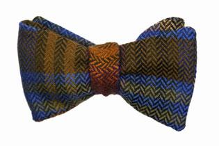 Herren Anzug Fliege zum Binden in blau grün orange - winterfliege - Querbinder